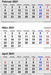 3-Monats-Kalender Februar/März/April 2021 im Hochformat