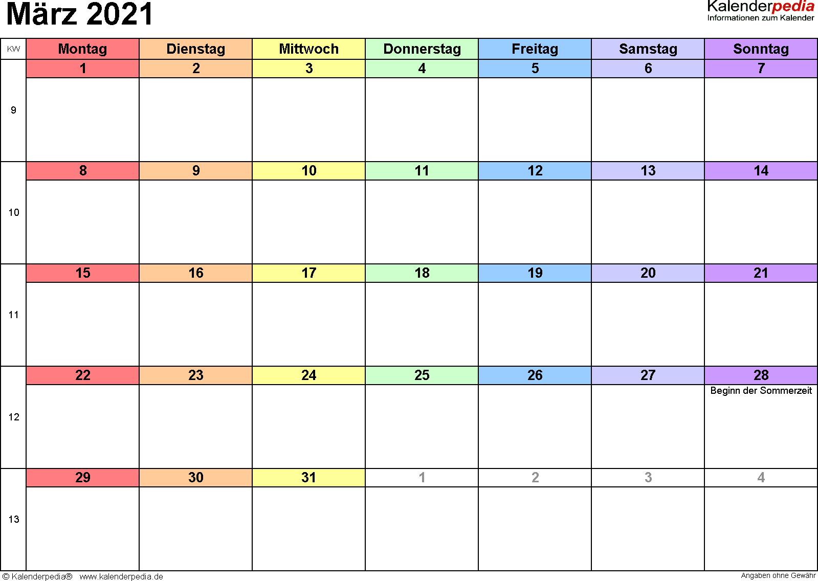 Kalender März 2021 als Excel-Vorlagen