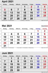 3-Monats-Kalender April/Mai/Juni 2021 im Hochformat