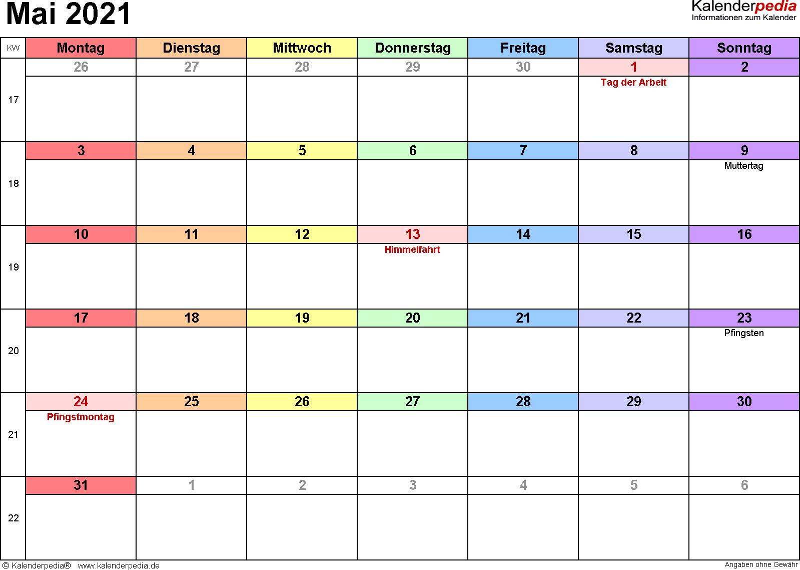 Kalender Mai 2021 (Querformat) als Word-Vorlage