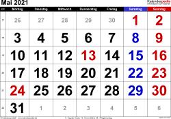 Kalender Mai 2021 im Querformat, grosse Ziffern