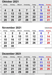 3-Monats-Kalender October/November/December 2021 im Hochformat