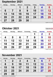 3-Monats-Kalender September/Oktober/November 2021 im Hochformat