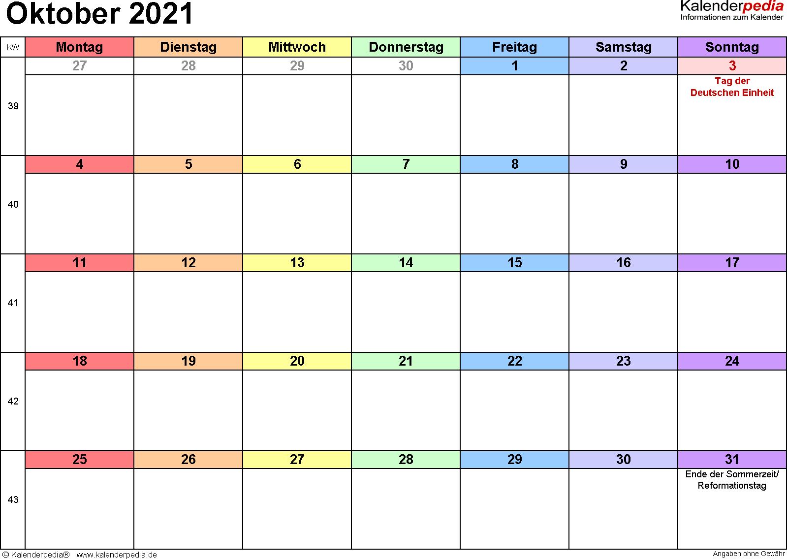 Kalender Oktober 2021 (Querformat) als Excel-Vorlage