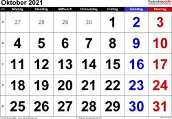 Kalender Oktober 2021 im Querformat, grosse Ziffern