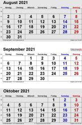 3-Monats-Kalender August/September/October 2021 im Hochformat