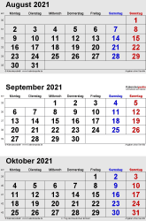 3-Monats-Kalender August/September/Oktober 2021 im Hochformat