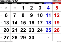 Kalender September 2021 im Querformat, grosse Ziffern