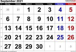 Kalender September 2021 im Querformat, grosse Ziffern