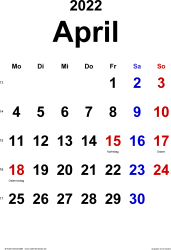 Kalender April 2022 im Hochformat, klassisch