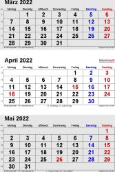 3-Monats-Kalender März/April/Mai 2022 im Hochformat
