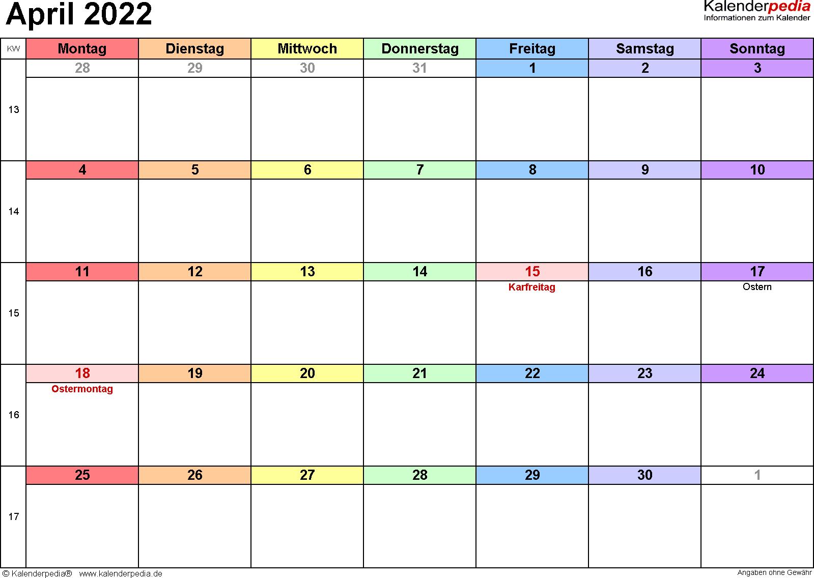 Kalender April 2022 (Querformat) als PDF-Vorlage