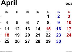 Kalender April 2022 im Querformat, klassisch