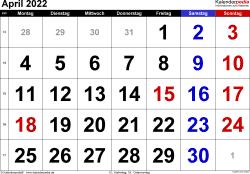 Kalender April 2022 im Querformat, grosse Ziffern