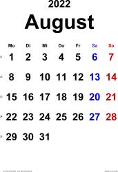 Kalender August 2022 im Hochformat, klassisch