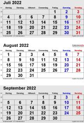 3-Monats-Kalender Juli/August/September 2022 im Hochformat