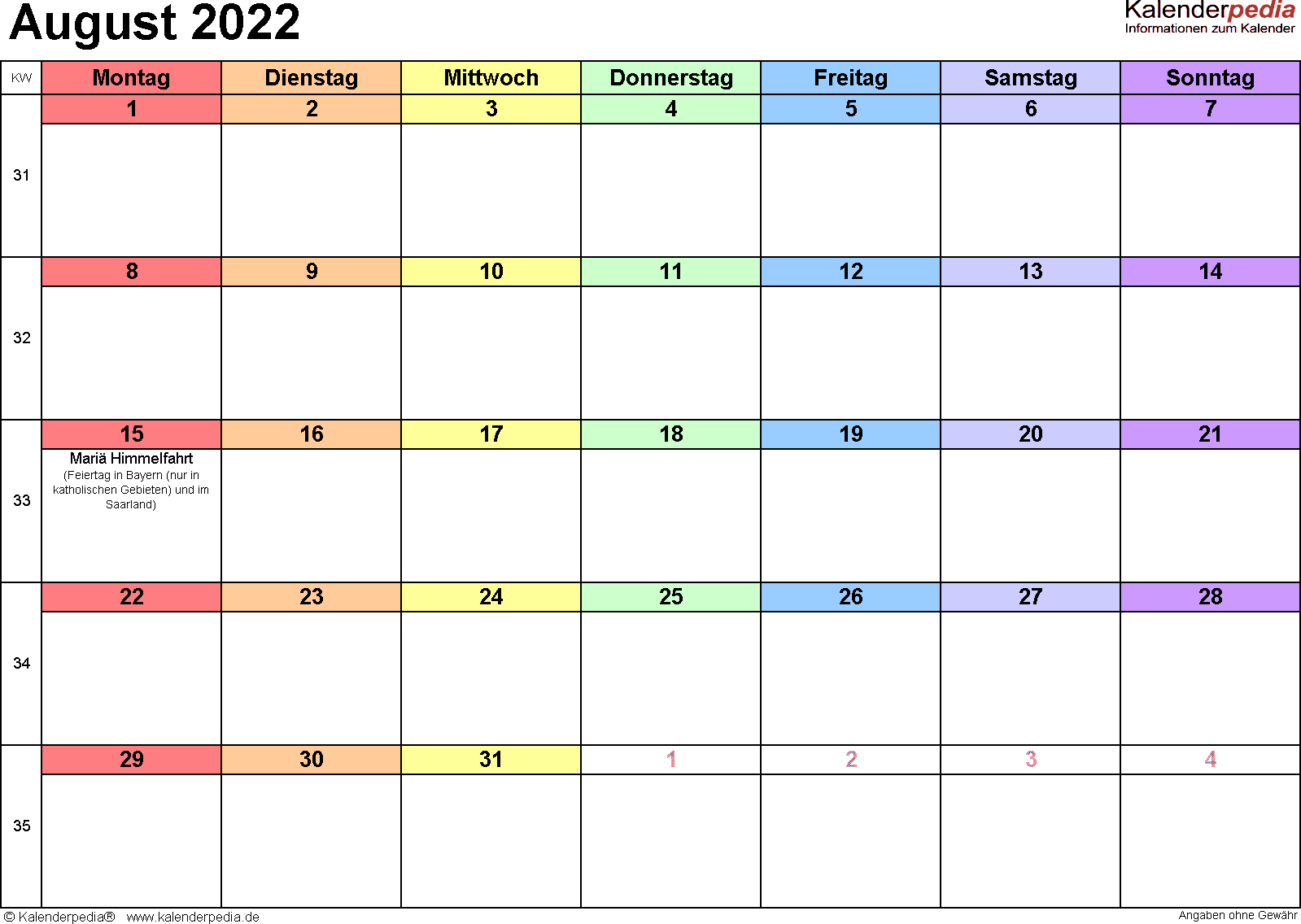 Kalender August 2022 (Querformat) als Word-Vorlage