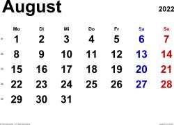 Kalender August 2022 im Querformat, klassisch