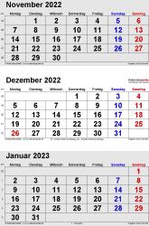 3-Monats-Kalender November/Dezember 2022& Januar 2023 im Hochformat
