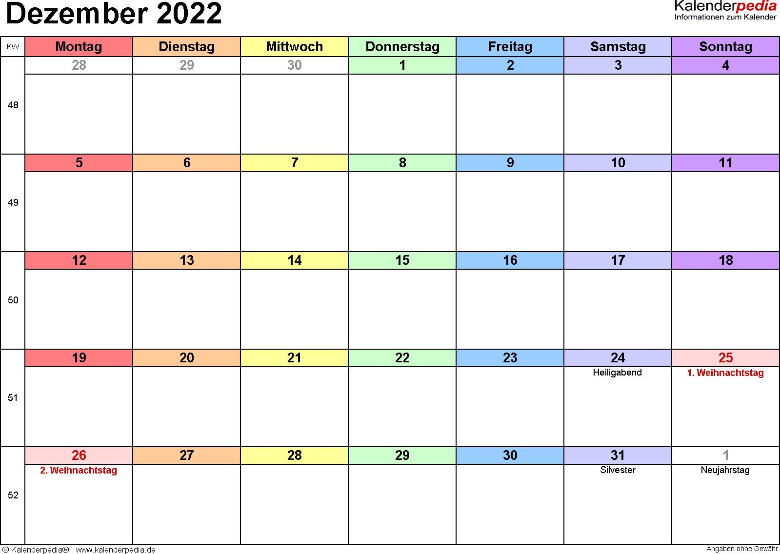 Kalender Dezember 2022 (Querformat) als Word-Vorlage