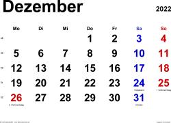 Kalender December 2022 im Querformat, klassisch