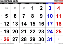 Kalender December 2022 im Querformat, grosse Ziffern