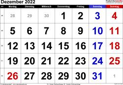 Kalender Dezember 2022 im Querformat, grosse Ziffern