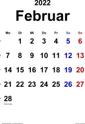 Kalender Februar 2022 im Hochformat, klassisch