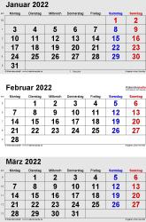 3-Monats-Kalender Januar/Februar/März 2022 im Hochformat