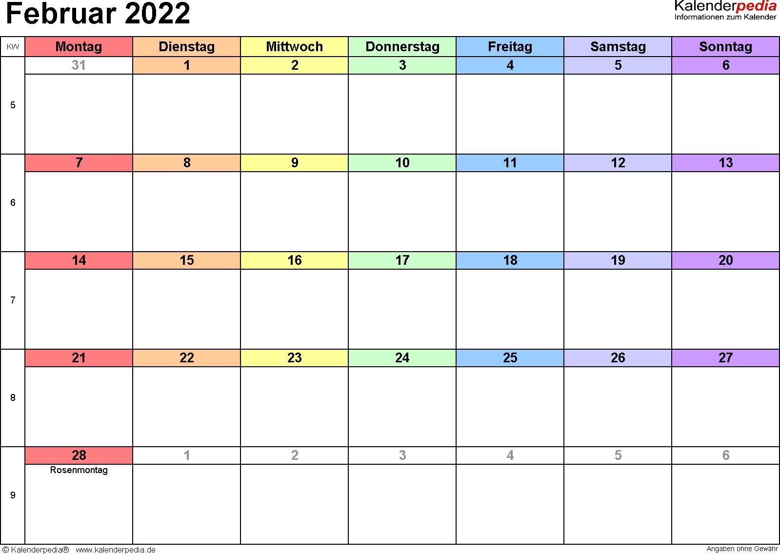 Kalender Februar 2022 (Querformat) als PDF-Vorlage