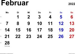 Kalender Februar 2022 im Querformat, klassisch