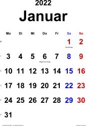 Kalender Januar 2022 im Hochformat, klassisch