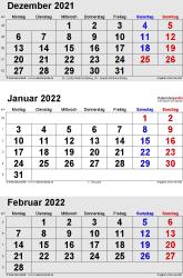 3-Monats-Kalender Dezember 2021/ Januar/Februar2022 im Hochformat