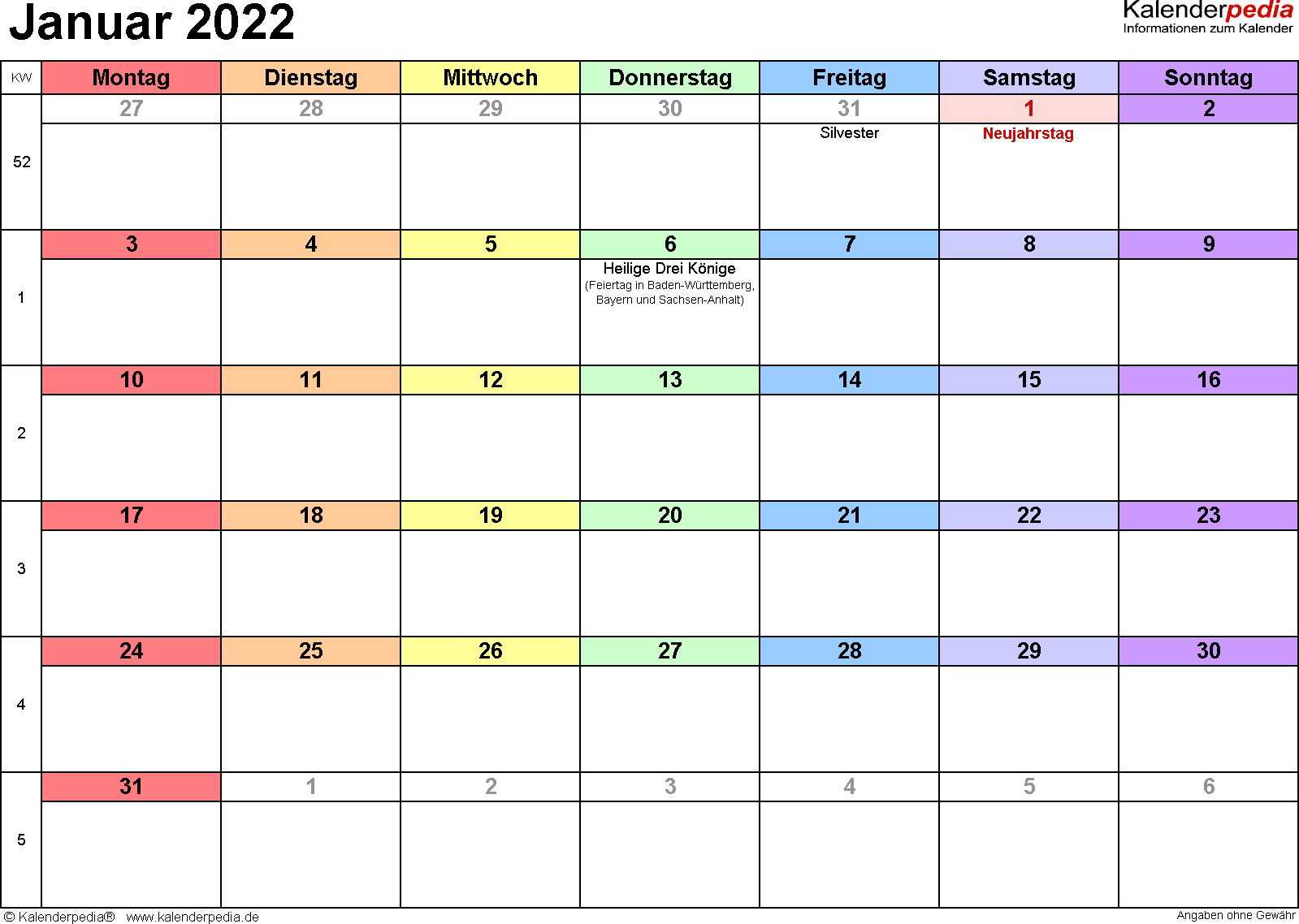 Kalender Januar 2022 (Querformat) als PDF-Vorlage