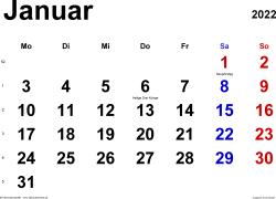 Kalender Januar 2022 im Querformat, klassisch