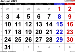 Kalender Januar 2022 im Querformat, grosse Ziffern