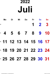 Kalender Juli 2022 im Hochformat, klassisch