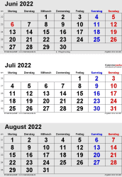3-Monats-Kalender Juni/Juli/August 2022 im Hochformat