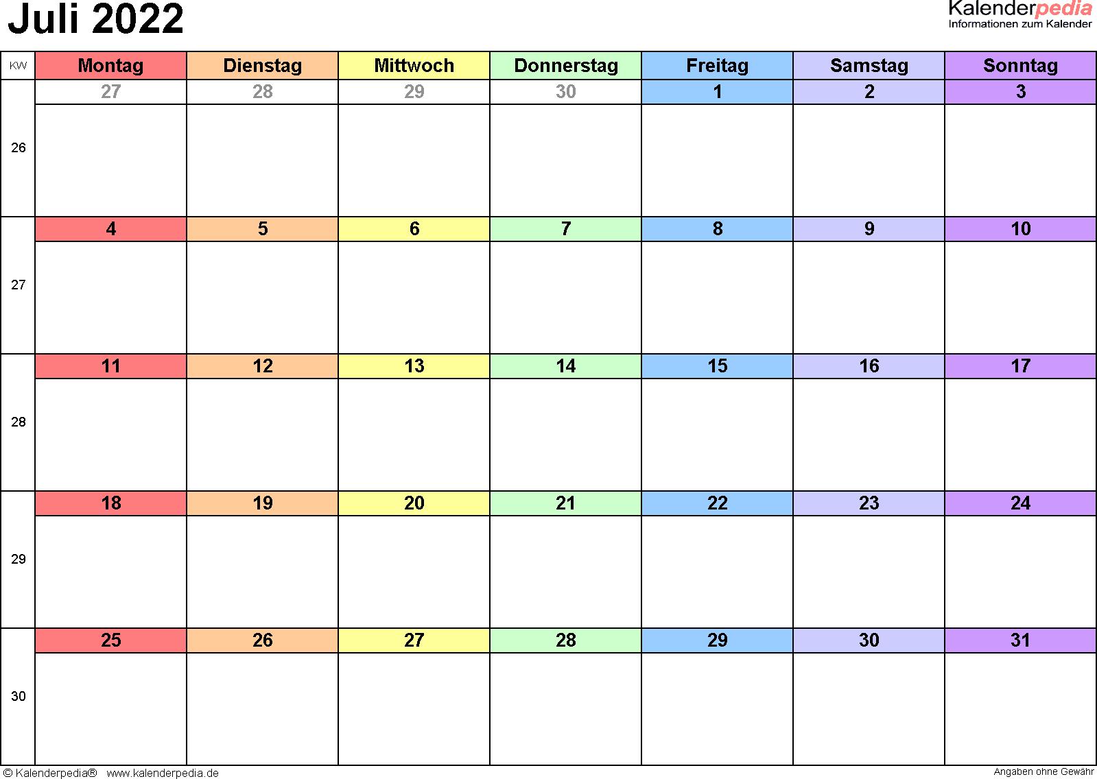 Kalender Juli 2022 (Querformat) als Excel-Vorlage