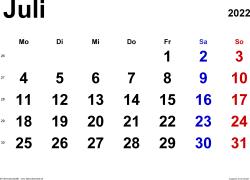 Kalender Juli 2022 im Querformat, klassisch