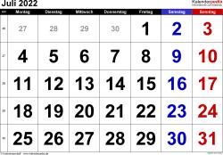 Kalender Juli 2022 im Querformat, grosse Ziffern