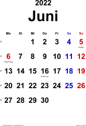 Kalender Juni 2022 im Hochformat, klassisch