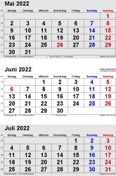 3-Monats-Kalender Mai/Juni/Juli 2022 im Hochformat