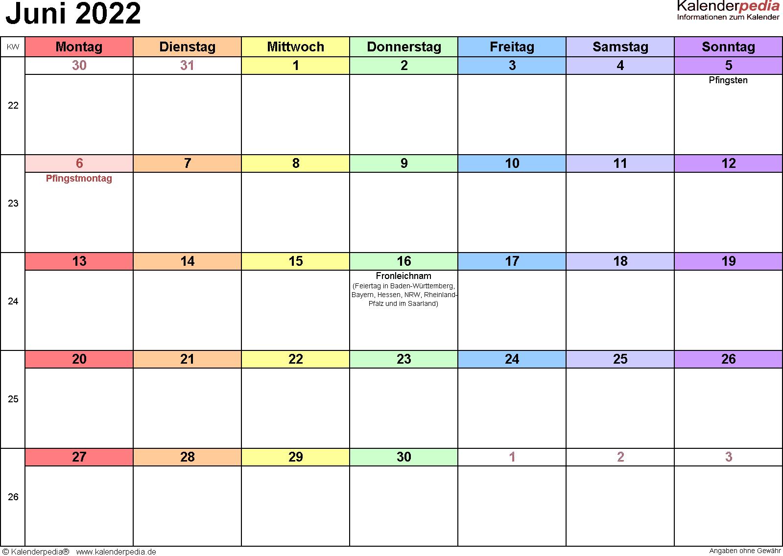 Kalender Juni 2022 (Querformat) als Excel-Vorlage