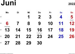 Kalender Juni 2022 im Querformat, klassisch
