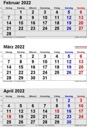 3-Monats-Kalender Februar/März/April 2022 im Hochformat