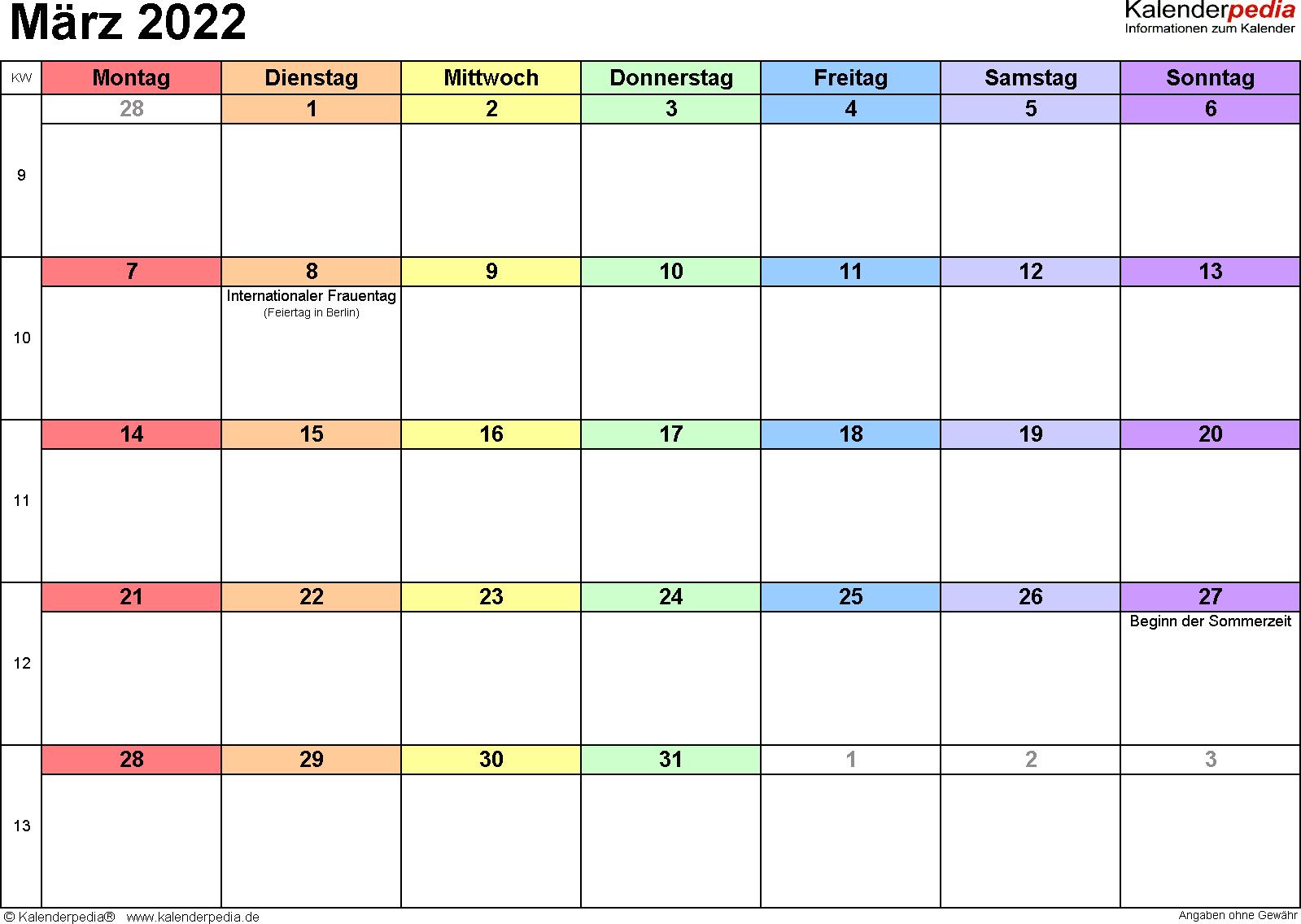 Kalender März 2022 (Querformat) als PDF-Vorlage