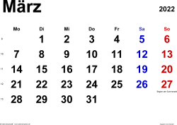 Kalender März 2022 im Querformat, klassisch