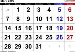 Kalender März 2022 im Querformat, grosse Ziffern