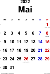Kalender Mai 2022 im Hochformat, klassisch